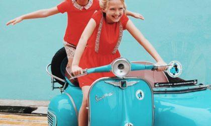 Vespa Sidecar fashion photoshoot for Chateau De Sable
