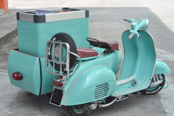 Turquoise Vespa Sidecar with Freezer